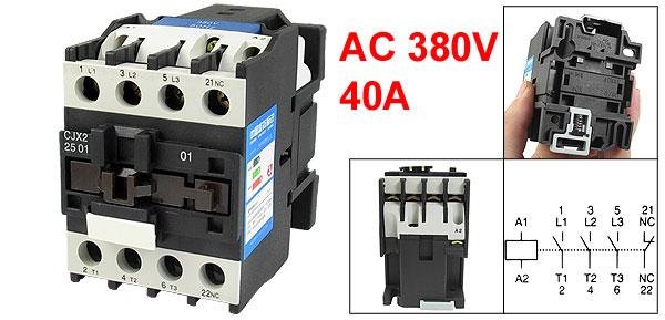 CJX2-2501 AC-3 660V 40A 11KW 3 Poles 3P NC DIN Rail AC Contactor 380V Coil