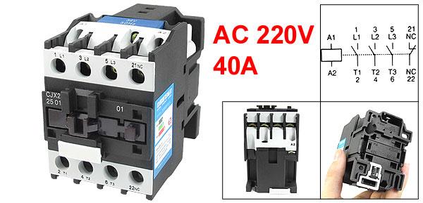 220V Coil Motor Controler AC Contactor 3 Pole 3P NC 660V 11KW CJX2-2501