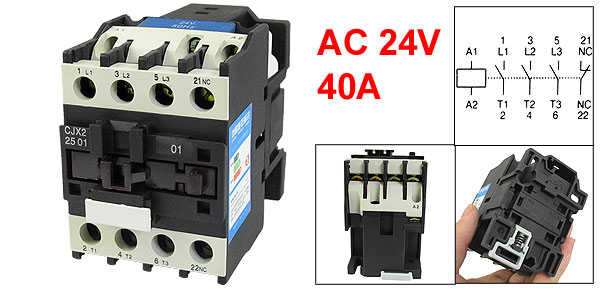 24V Coil Motor Controler AC Contactor 3P DIN Rail NC 660V 11KW CJX2-2501