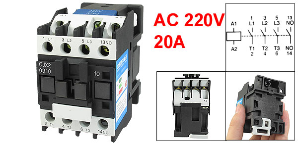 CJX2-0910 660 Ui 20A lth 3 Poles NO 35mm DIN Rail AC Contactor 220V Coil