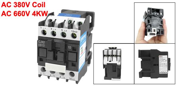 380V Coil Motor Controler AC Contactor 3P 3 Pole NO 660V 4KW CJX2-0910