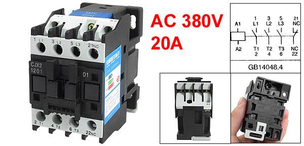 380V Coil Motor Controler AC Contactor 3P 3 Pole NC 660V 20A CJX2-1201