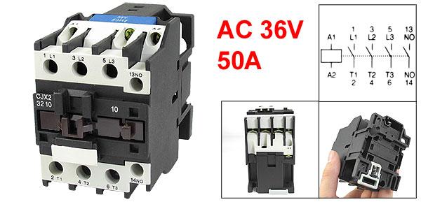 36V Coil Motor Controler AC Contactor 3 Pole NO N/O 660V 15KW CJX2-3210