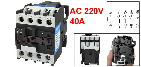 660V 40A 3 Phase 3P NC AC Contactor 35mm DIN Rail Mount 220V Coil CJX2-2501