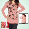 Ladies Heart Pattern Round Neck Long Sleeves Pullover Spring Autumn Sweater Pink Xs