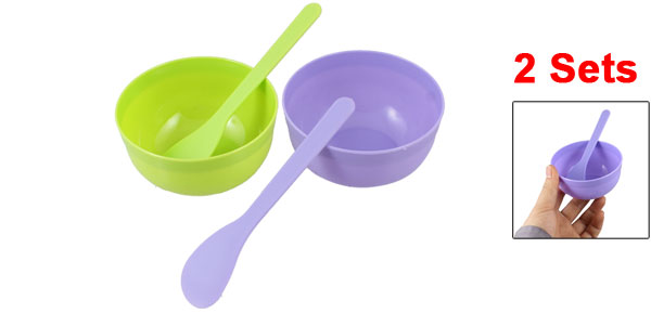 Women DIY Facial Beauty Care Green Purple Plastic Mask Bowl Mixing Stick 2 Sets