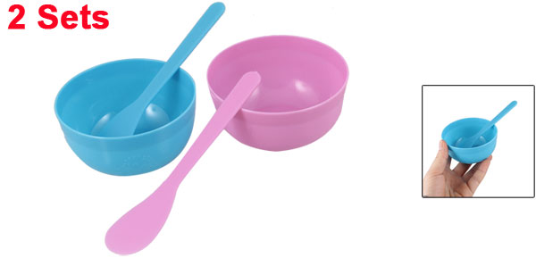 2 Sets 2 in 1 DIY Cosmetic Floral Print Mask Mixing Bowl Stick Blue Pink for Lady