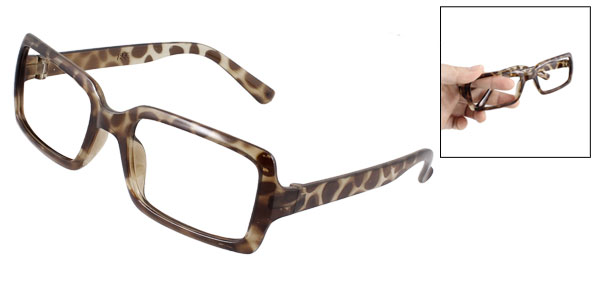 Leopard Pattern Full Rim Rectangle Shaped Brown Spectacles Glasses Eyeglasses Frame