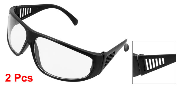 2 Pcs Black Plastic Full Frame Clear Lens Plain Plano Glasses Spectacles Eyeglasses for Lady