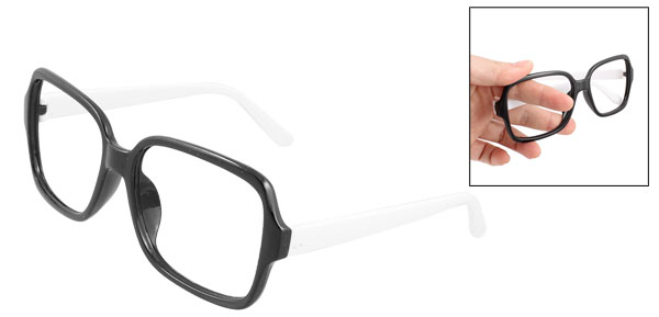 Slim White Arm Plastic Full Rim Retro Style Eyeglasses Spectacles Glasses Frame