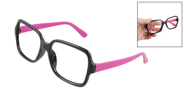 Slim Fuchsia Arm Plastic Full Rim Vintage Style Eyeglasses Spectacles Glasses Frame