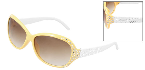 Lady Slim Arm Brown Lens Yellow Full Frame Bling Sunglasses Eyeglasses Glasses