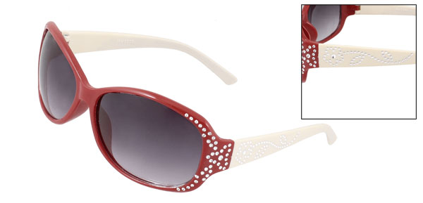 Lady Slim Arm Dark Gray Lens Red Full Frame Bling Sunglasses Eyeglasses Glasses