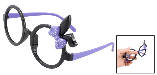 Purple Rabbit Ear Accent Single Bridge Full Rim Spectacles Glasses Eyeglasses Frame