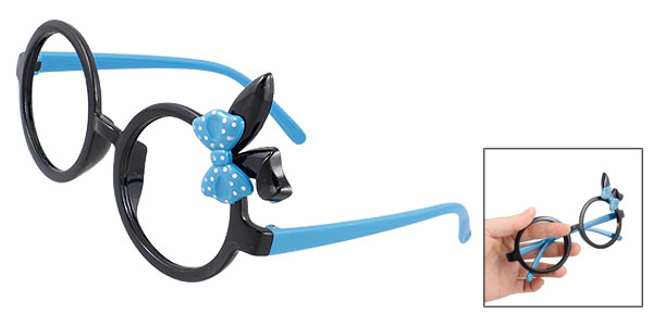Bowtie Decor Blue Black Plastic Full Rim Spectacles Glasses Eyeglasses Frame