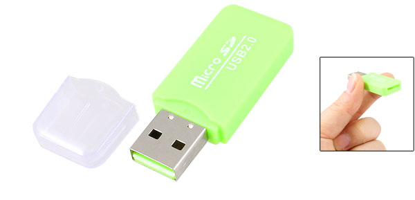 480Mbps High Speed USB 2.0 Micro SD TF Card Reader Memory Green