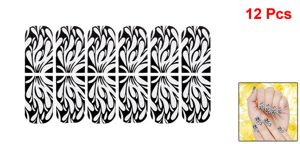 12 Pcs Bling Powder Decor Leaves Pattern Nail Wraps Foils Art Stickers Black