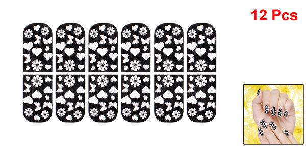 12 Pcs Heart Butterfly Print Bling Nail Wraps Foils Art Stickers Decorative Decals Black
