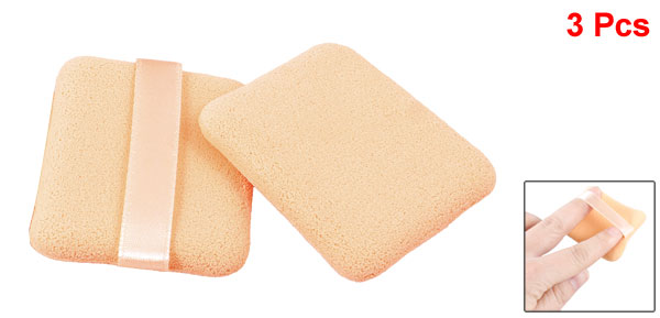 3 Pcs Rectangle Shaped Beige Sponge Powder Puff Pad Neat Polish Pat for Lady