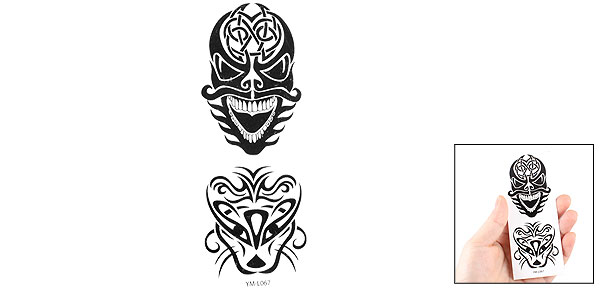 Glass Self Adhesive Decorative Black Skull Transfer Tattoos Stickers Decals 2 in 1