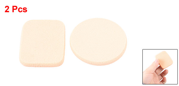 Round Rectangle Shaped Sponge Cosmetic Powder Puff Pad Finishing Polish Pat Beige 2 Pcs