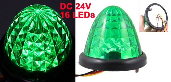 DC 24V 16 Green LEDs Auto Car Decoration Cone Shaped Light Lamp