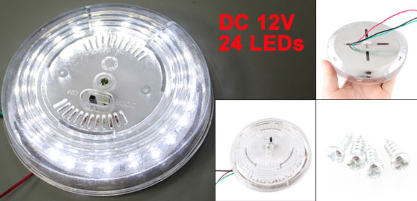On Door Off Switch 24 White LEDs Car Auto Indoor Lamp DC 12V