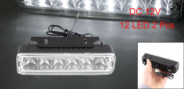 Car Truck Van Day Daytime Running Fog White 12 LED Light Lamp 2 Pcs