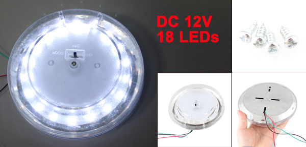 Warm White 18-LED On Door Off Switch Car Auto Indoor Lamp DC 12V