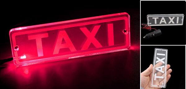 Red LED Transparent PMMA TAXI Board Neon Light Lamp Car Power