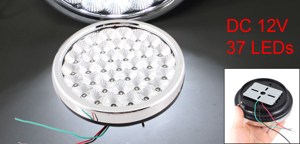 DC 12V White 37 LEDs Interior Roof Dome Caravan Round Light