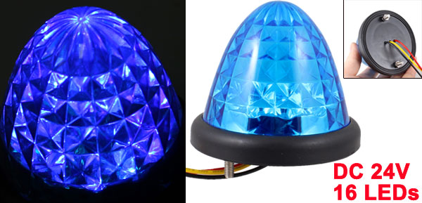 Auto Car Lighting Cone Shaped Wired 16 Blue LEDs Light Lamp Bulb