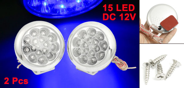 2 Pcs Car Round Shaped Blue 15 LED Self-adhesive Daytime Running Light DC 12V