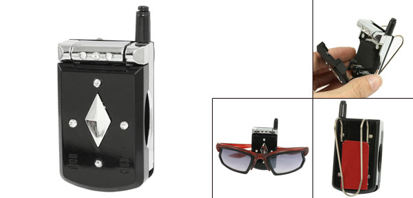 Auto Rhinestone Decor Plastic Phone Shape Eyeglass Sunglasses Visor Clip Holder Black