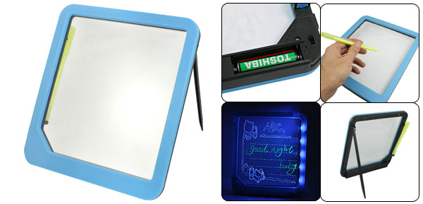 Light Blue Plastic Frame Illuminated LED Writing Message Board w Highlighter