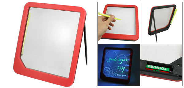 Red Plastic Frame Lover Print Erasable Blue LED Writing Message Menu Note Board