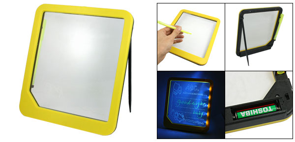 Yellow Plastic Frame Illuminated LED Message Text Memo Writing Board 22.5cmx20cm