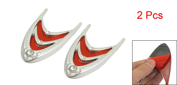 Car Vehicle V Shape Side Air Flow Vent Fender 3D Sticker Red Silver Tone 2pcs