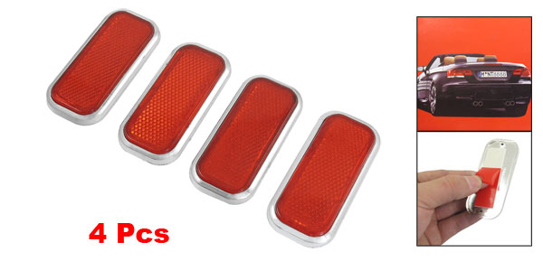 4 Pcs Vehicle Car Plastic Rectangle Reflective Reflector Sticker Red