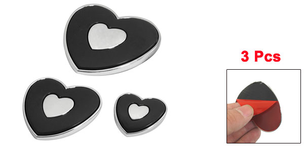 Car Vehicle Black Heart Accent Plastic Stick-on Door Guard 3pcs