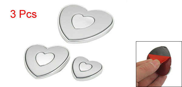 3 Pcs Auto Car Heart Shape Edge Guards Bumper Protector Silver Tone