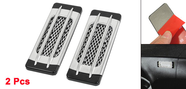 Car Auto Meshy Side Vent Air Flow Intake Stickers Black Silver Tone 2pcs