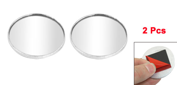 2pcs Driver Wide Angle Convex Car Mirror Blind Spot Silver Tone 48.5mm Diameter