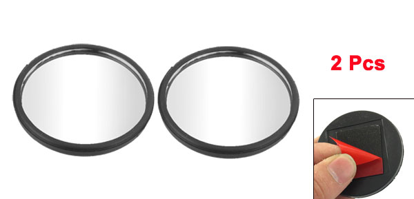 2 Pcs Car Black Plastic Frame Wide Angle Round Blind Spot Mirror 52mmx4mm