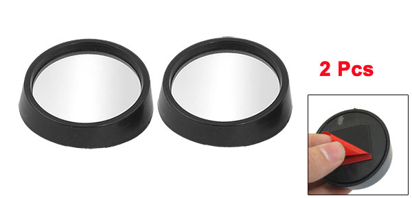 2 Pcs Car Black Plastic Frame Wide Angle Round Blind Spot Mirror 54mmx18mm