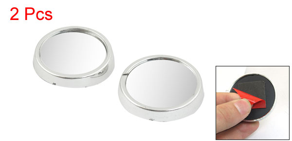 2 Pcs Car Silver Tone Plastic Frame Wide Angle Round Blind Spot Mirror 47mmx11mm