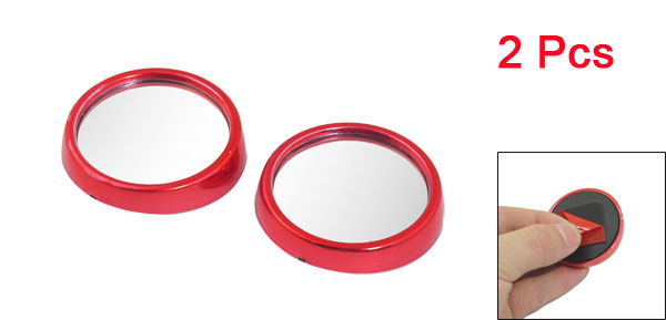 2pcs Driver Wide Angle Convex Car Mirror Blind Spot Red 47mm Diameter