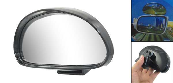 Car Vehicle Arch Wide Angle Convex Blind Spot Mirror Black 140mmx65mm