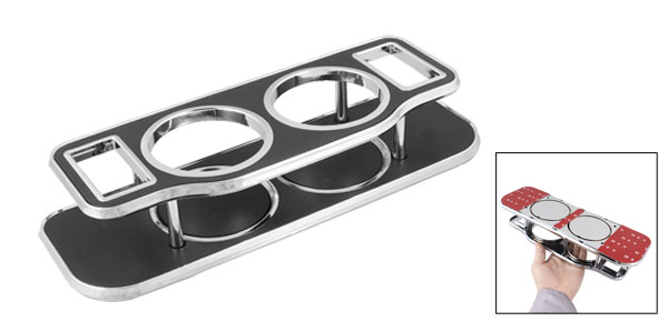 Drink Bottle Bracket Holder Table Black Silver Tone for Car Vehicle