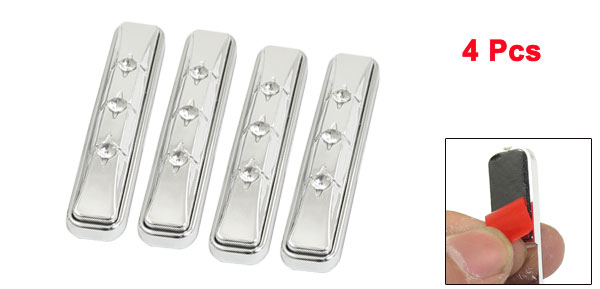 4 Pcs Car Auto Faux Rhinestone Decor Door Guard Sticker Silver Tone